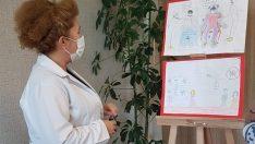 """Sağlık çalışanı anne babaların çocuklarından """"Covid-19"""" sergisi"""